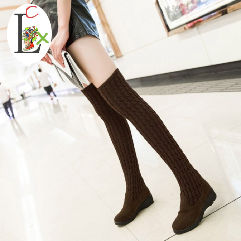 New winter spring sweater thigh boots two women wear elastic thin boots with a slope with Knight boots plush snow boots outsole