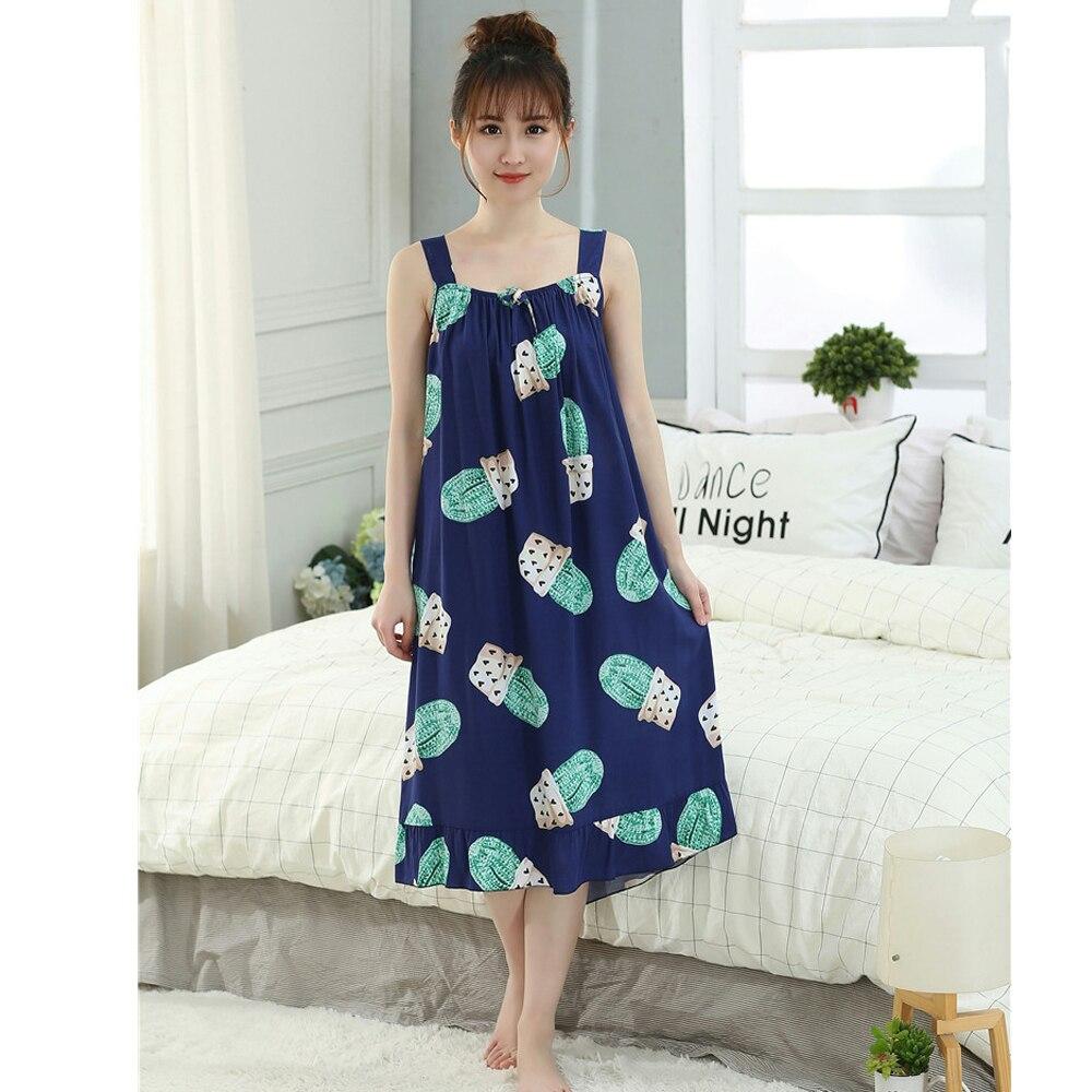 Oversize Women's Cotton Thin Nightgowns Ladies  Long Sleepwear 2019 Summer Girls Sleeveless Loose Sleepdress Sleepshirts