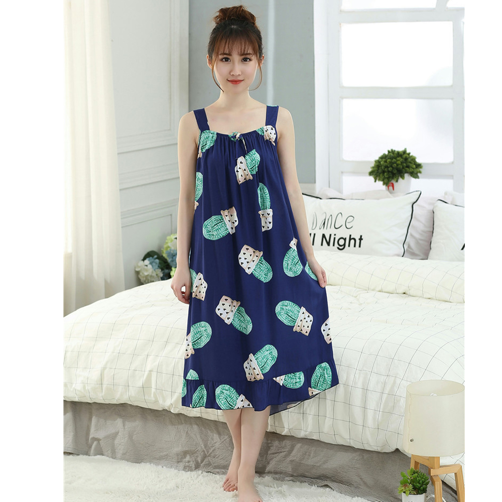 Oversize Women's Cotton Thin   Nightgowns   Ladies Long Sleepwear 2019 Summer Girls Sleeveless Loose Sleepdress   Sleepshirts