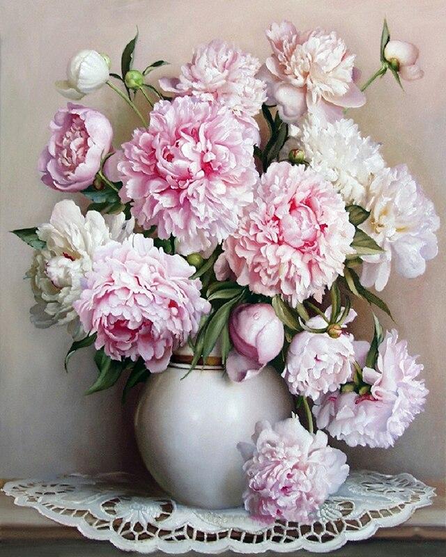 B DK 유럽 벽에 핫 핑크 화이트 꽃 diy 그림 홈 장식 핑크 장미 꽃-에서그림 & 서예부터 홈 & 가든 의  그룹 1