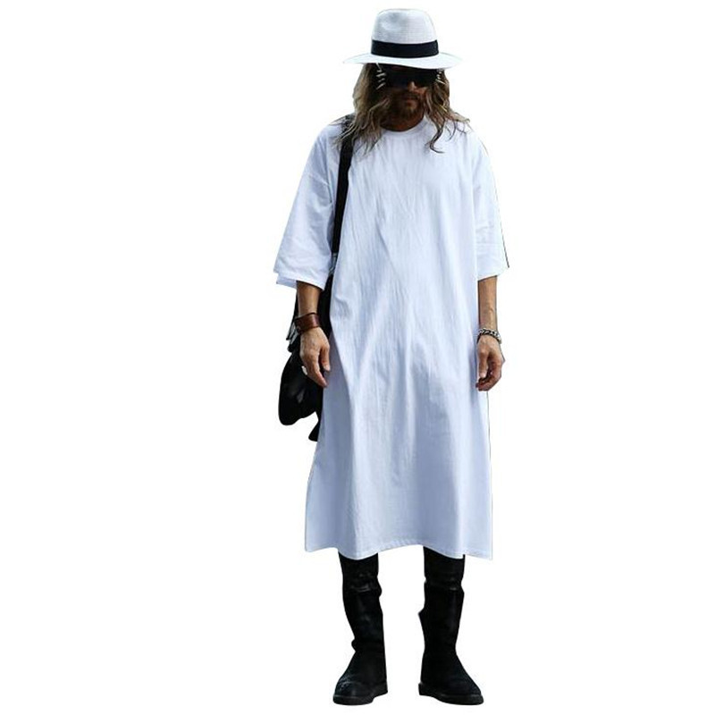 Loose Large Cotton Extra Long T-shirt Men Luxury Fashion Half Sleeve Brand Designer Casual Extended Tee Shirts White Black
