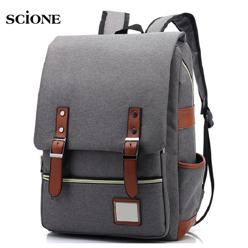 Retro Men Male canvas Backpack College School Student Backpacks Vintage Rucksack Travel Bag Laptop bags women bag Mochila XA91YL ozuko multi functional men backpack waterproof usb charge computer backpacks 15inch laptop bag creative student school bags 2018