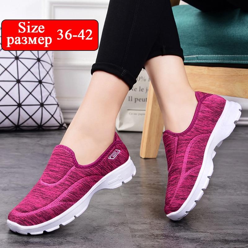 women casual shoes slips ladies fancy shoes women's macines comfortable breathable walking sneaker zapatillas mujer B11A-in Women's Flats from Shoes