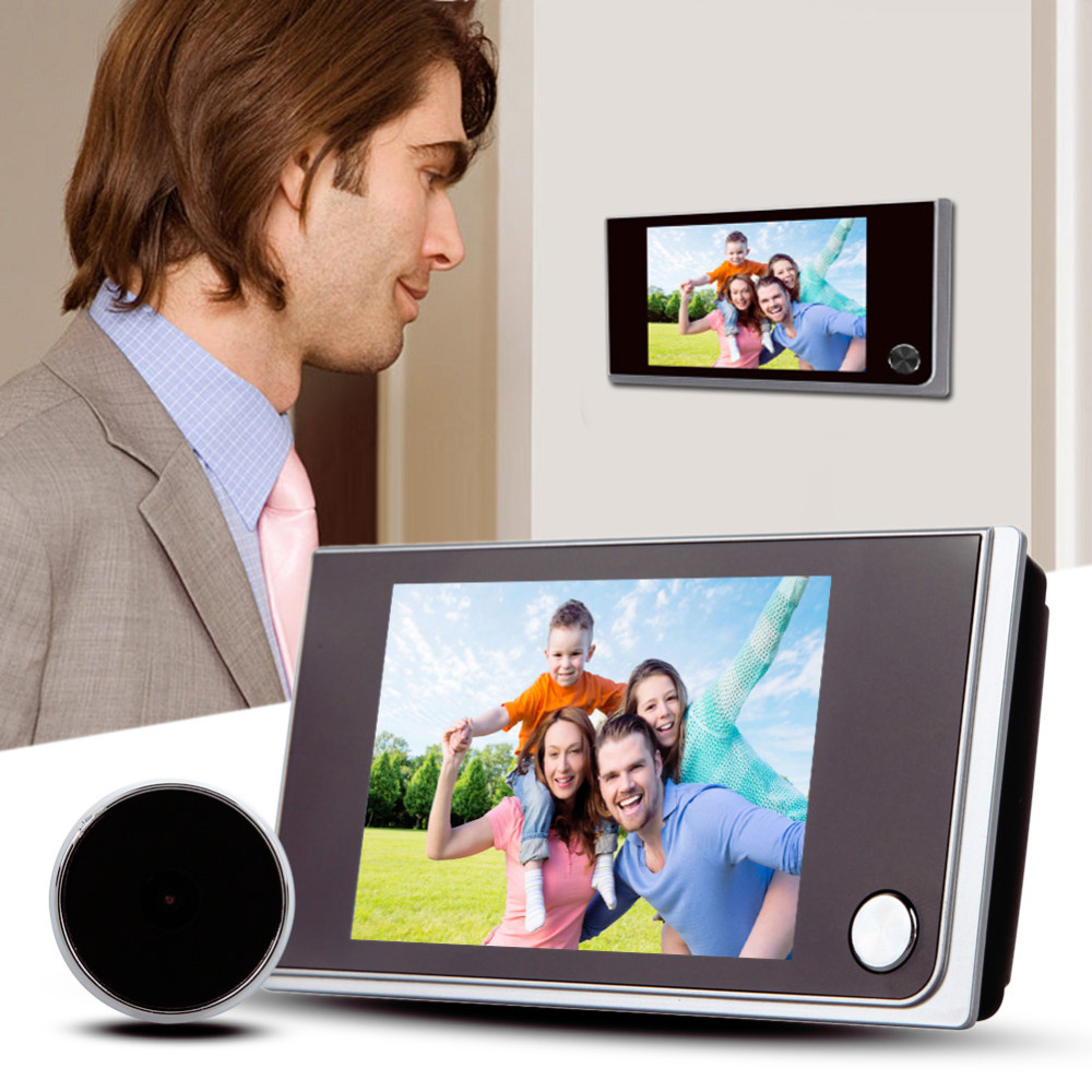 3.5 polegada Cor Ecrã LCD Digital Campainha Da Porta de 120 Graus Olho Campainha Eletrônica Campainha Da Porta Olho Mágico Da Porta Visualizador de Câmera Ao Ar Livre