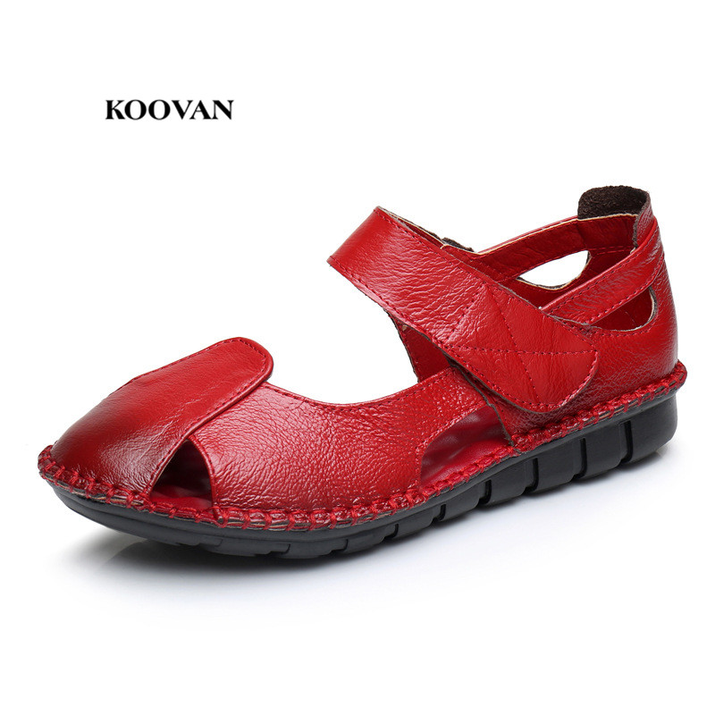 Koovan Mothers Sandals 2018 Cowhide Leather Middle-aged Womens Sandals Summer Flat Comfort  Mama Soft Womens ShoesKoovan Mothers Sandals 2018 Cowhide Leather Middle-aged Womens Sandals Summer Flat Comfort  Mama Soft Womens Shoes