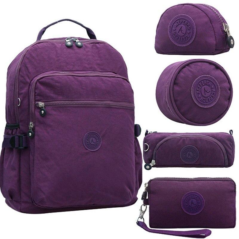 ACEPERCH Casual School Backpack for Teenage Girl Women Nylon Laptop Backpack Mochila Escolar Large Capacity Travel