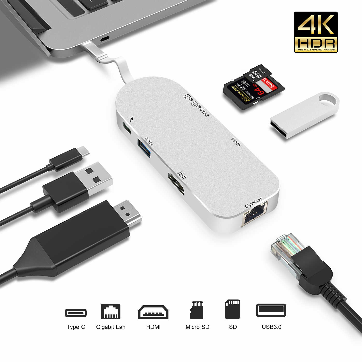 USB C концентратор HDMI USB-C Ethernet адаптер для Macbook Pro Thunderbolt 3, Тип C концентратор Gigabit Lan 4 К кардридер + type-C питание доставка