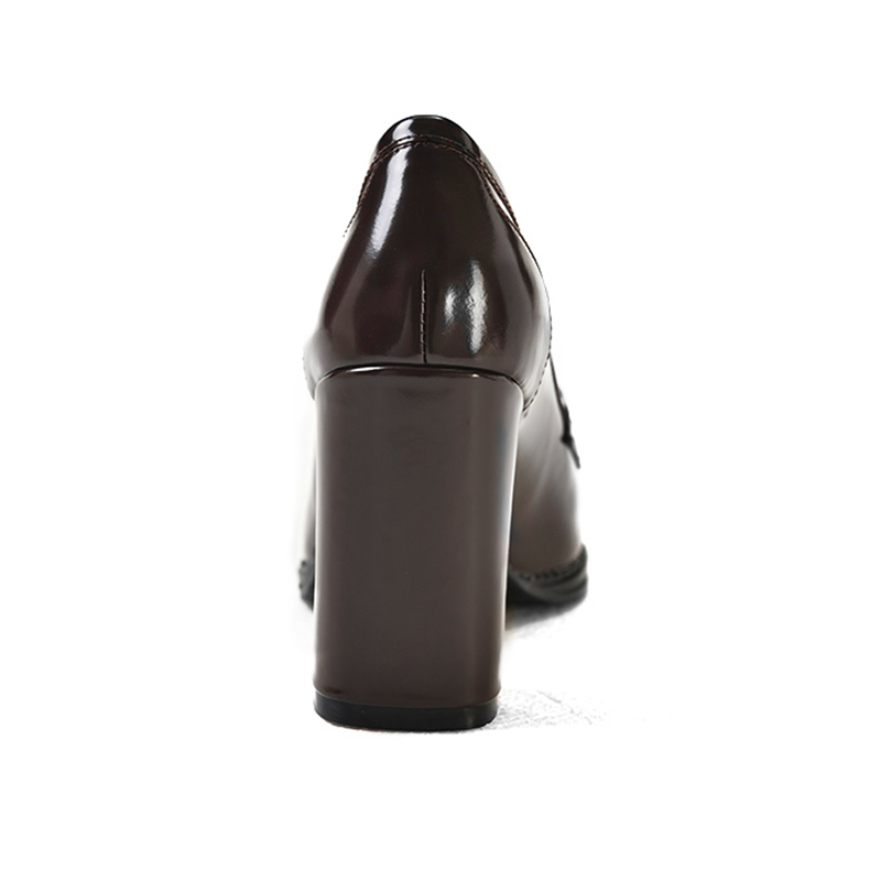 Arden Furtado 2018 spring autumn genuine leather slip on burgundy brown  office lady dress shoes high heels 10cm pumps square toe-in Women s Pumps  from Shoes ... 461f1c9b670d