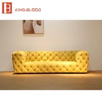 Royal yellow nubuck leather luxury sectional sofa sets