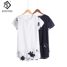 Plus Size 5XL Chiffon Blouse Women Clothing Loose Short Sleeve Embroidery Flower Print Patchwork White Tops Big Shirts D53558(China)