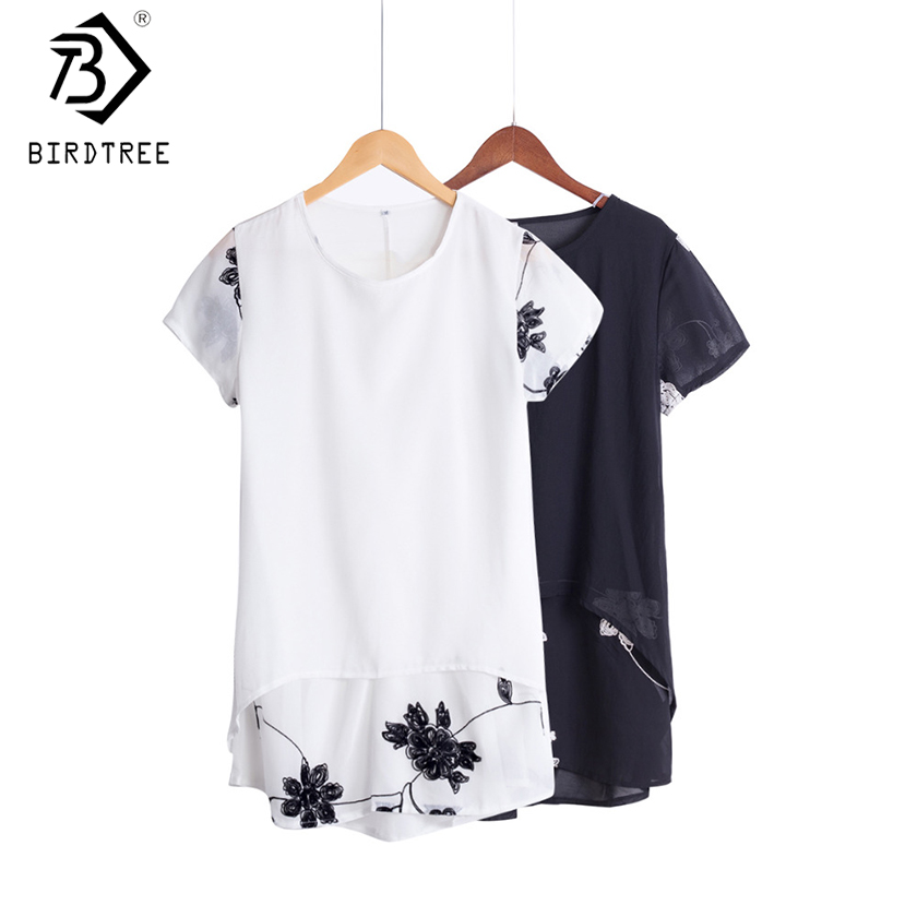 Plus Size 5XL Bluză Șifon Femei Îmbrăcăminte Loose Short Sleeve Broderie Print Flower Patchwork White Tops Big Shirts D53558