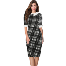 Oxiuly  Turn-down Collar Plaid Stripe Contrast Curved Hem Combo Dress Ladies Knee Length Hlaf Sleeve Elegant Work Wear Dress