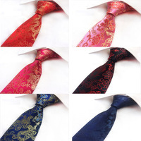 Set 6pcs Fashion Neckties Silk Ties 8 0cm Classical Chinese Dragon Printing Tie For Men Formal