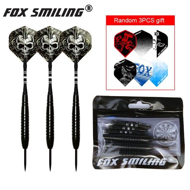 3PCS 23g Professional Steel Tip Darts With Aluminum Shaft Fox Smiling Good Qualtiy Nice Flights Black Barrel Darts Gift
