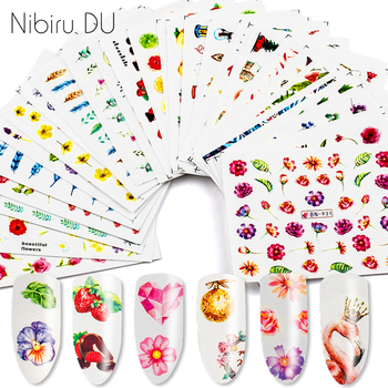 цена на 12pcs Nail Stickers Water Transfer Sticker Colorful Design Decals For Nails Art Decorations Manicure Tips Sets