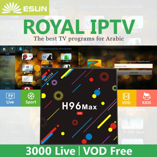 US $149 0 |2018 New H96 MAX With 1 Year Royal IPTV Android 7 1 TV BOX 4/32G  bluetooth With Europe/Arabic Channels VOD Media player-in Set-top Boxes