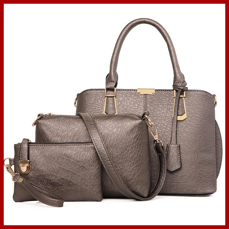 New 2015 Fashion Genuine Leather Women font b Handbag b font Solid Pattern Women Shoulder Bag