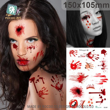 SC-937/ Funny Temporary Tattoo Waterproof Fake Horror Wound Realistic Blood Injury Scar Halloween Tattoo Sticker