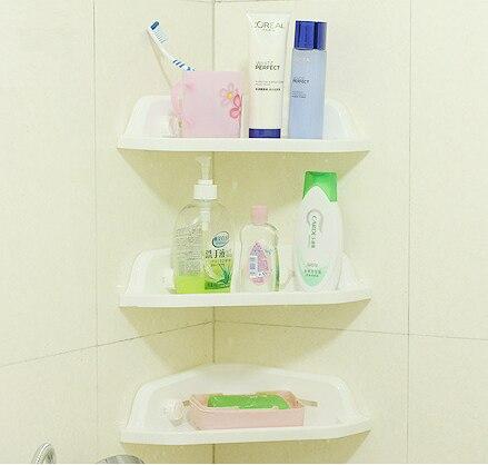 Plastic Bathroom Corner Storage Holders Wall Mounted Suction Shelves Bath Shower Shampoo Holder Kitchen Corner Rack