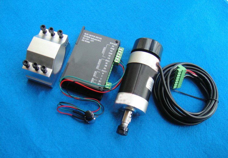 ER11 48V 400W High-speed Air-cooled Brushless Engraver Spindle Motor With BLDC Controller+52mm Mount