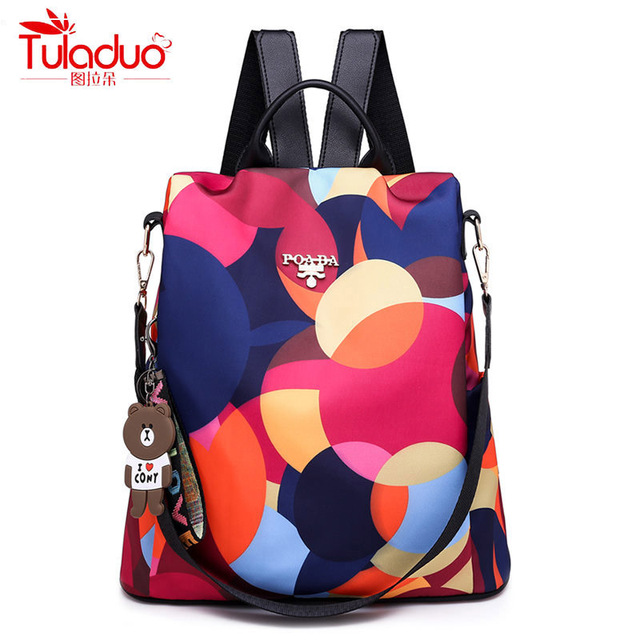 ef007a7fd838 Fashion Anti Theft Women Backpacks Famous Brand Ladies Large Capacity  Backpack High Quality Waterproof Oxford Women