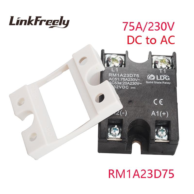 цена на RM1A23D75 5pcs DC AC Solid State Relay 75A 220V Output: 24-280VAC Input: 3.3V 5V 12V 24V DC Relay PLC SSR Relay Board Switch