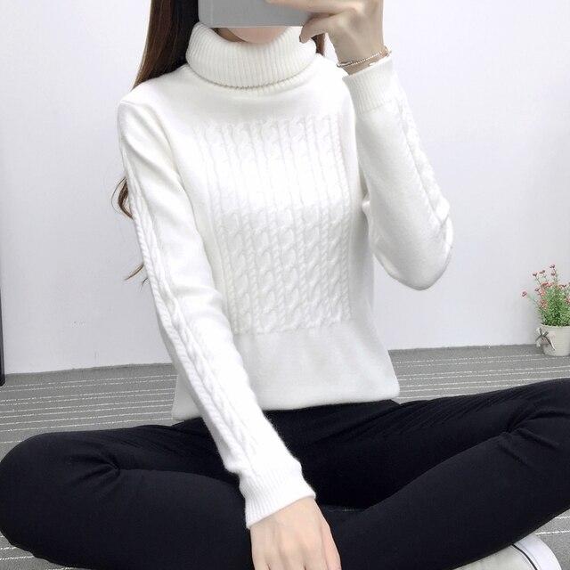 Осень белый водолазка пуловер кашемировый свитер женщин с длинным рукавом сгущает Винтаж Геометрические свитера Дамы тянуть femme sweter