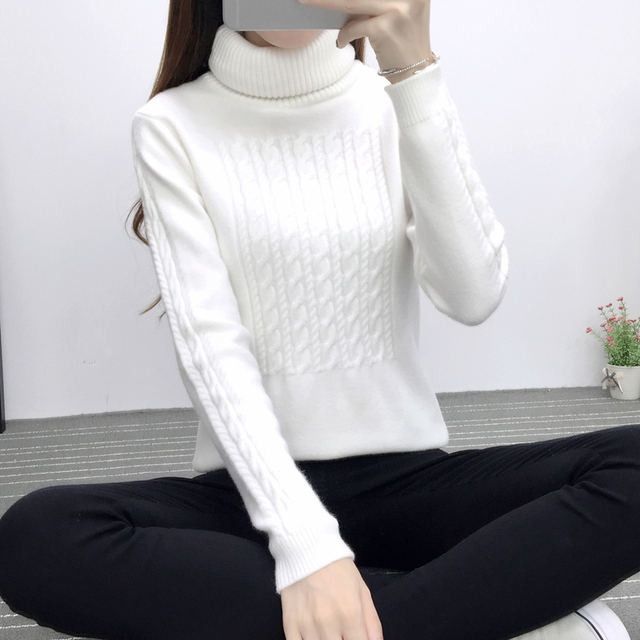Autumn white turtleneck pullover women cashmere sweater long sleeve thicken Vintage Geometric sweaters Ladies pull femme sweter