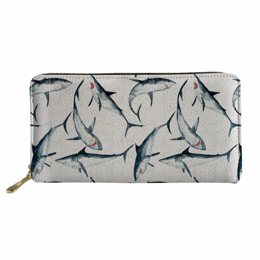 Women Coin Purses Holders Wallet Female Shark Pattern Ladies Small Wallet for Girls Mini Money Bag Purse for Coins