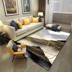 Image 2 - Moda abstrato estilo nórdico tinta linhas douradas sala de estar quarto tapete de veludo escritório antiderrapante decoração tapete feito sob encomenda