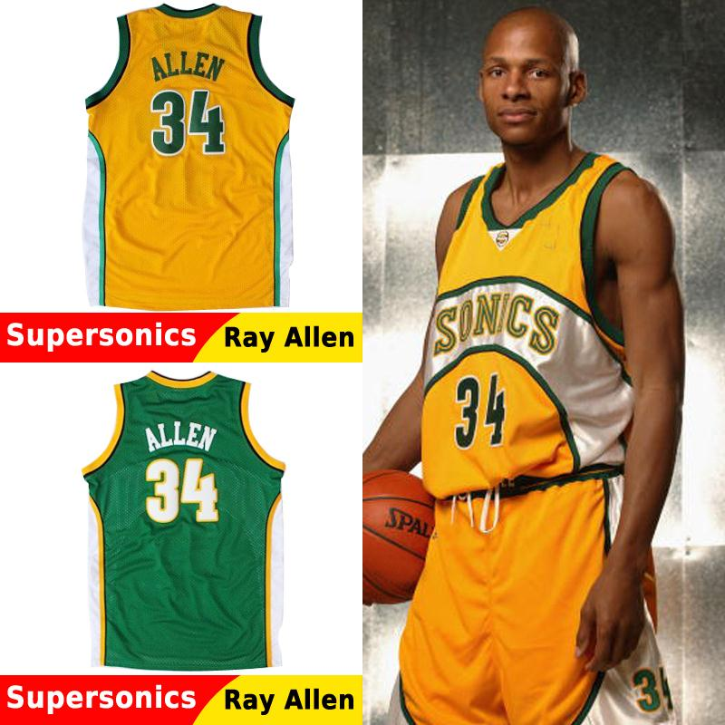 22bb274e743 Hardwood Classics Seattle 34  Ray Allen Supersonics Jersey Cheap Throwback  Jerseys Top Quality Green Yellow Embroidery seattle