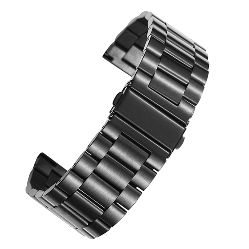 цены на For Men Watch Band 18mm 20mm 22mm 24mm 26mm Black Gold Silver Stainless Steel Bracelet Buckle Strap Clip For Women Watch Band