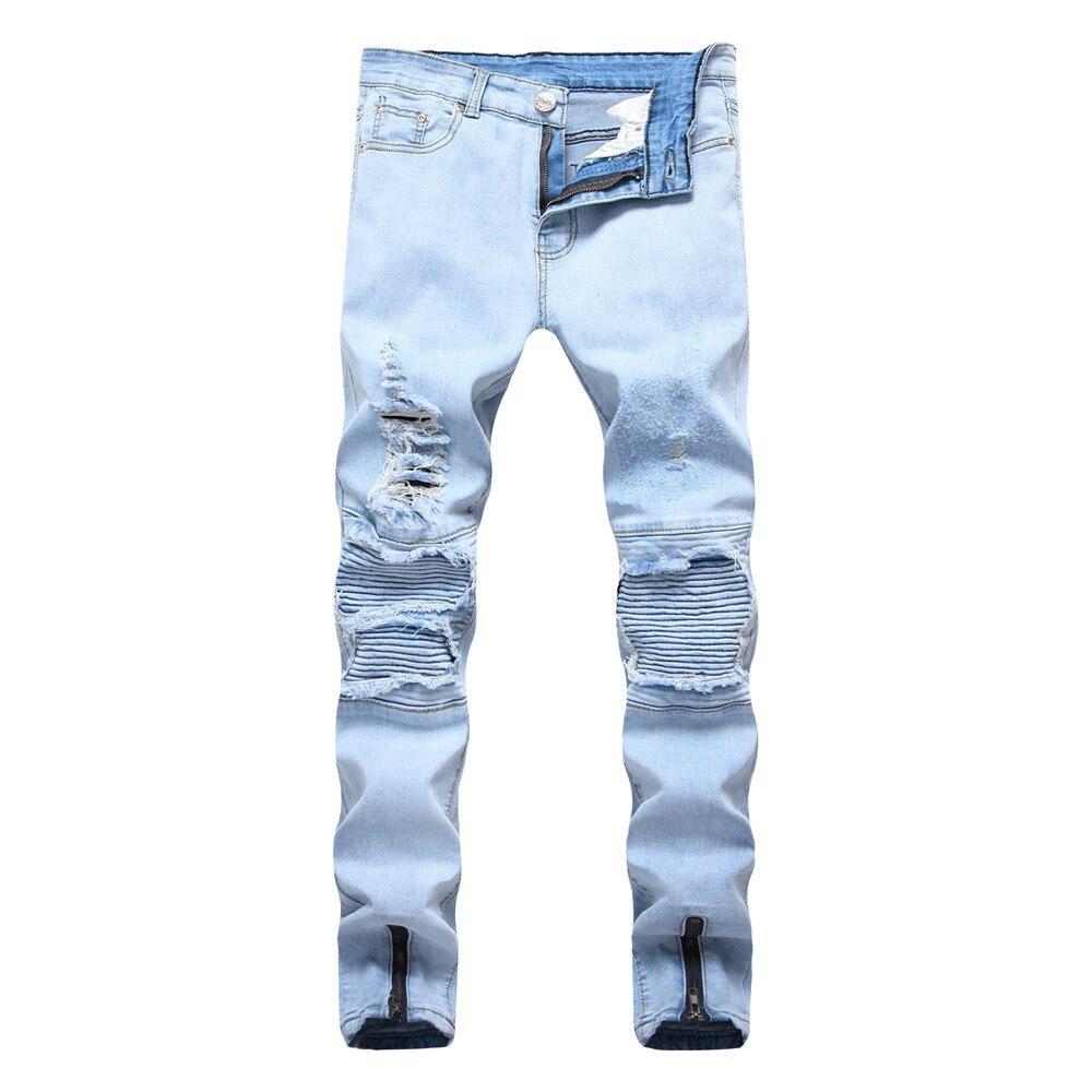 2018 new jeans male locomotive knee folds hole side zippers stretch feet pants