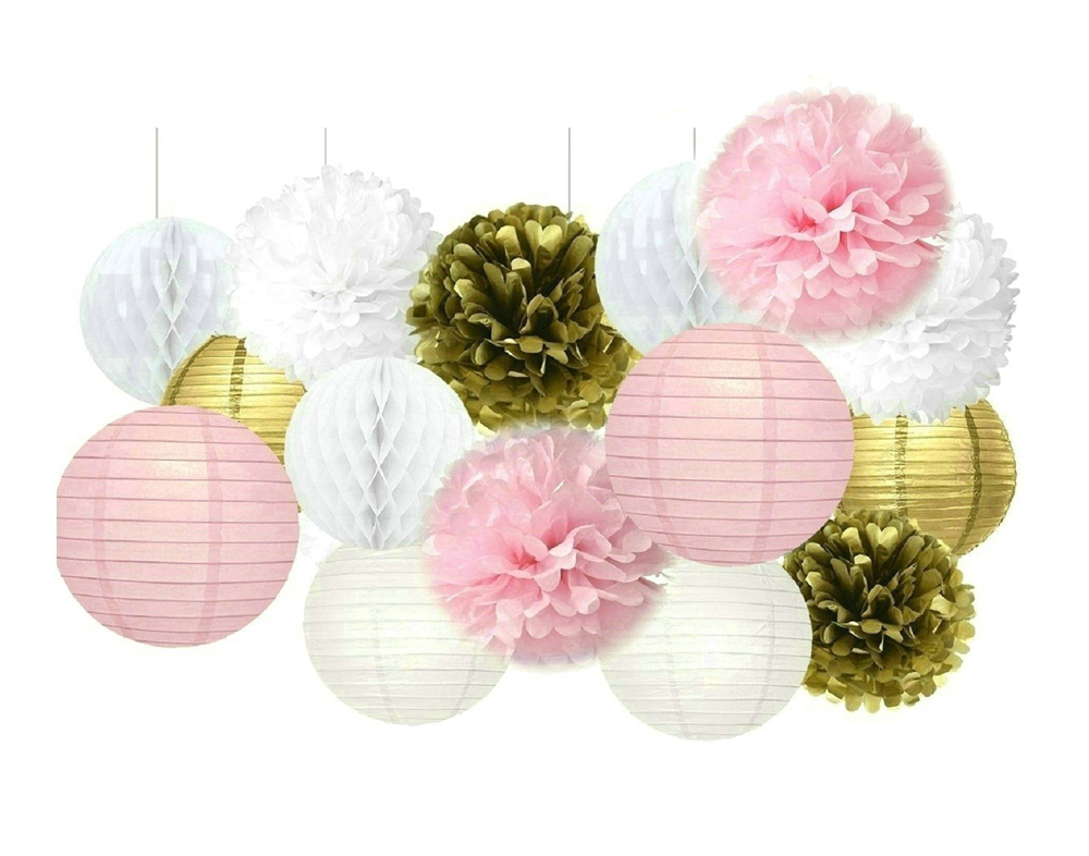 Detail Feedback Questions About Set Of 15 Pink And Gold Princess Birthday Decoration Kit Paper Lantern Pom Poms Wedding Party Baby Shower Backdrop