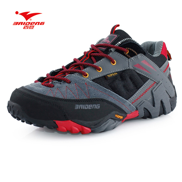 NEW Brand Baideng all seasons men hiking shoes breathable Camping shoes 3 colors leather climbing shoes zapatos de senderismo
