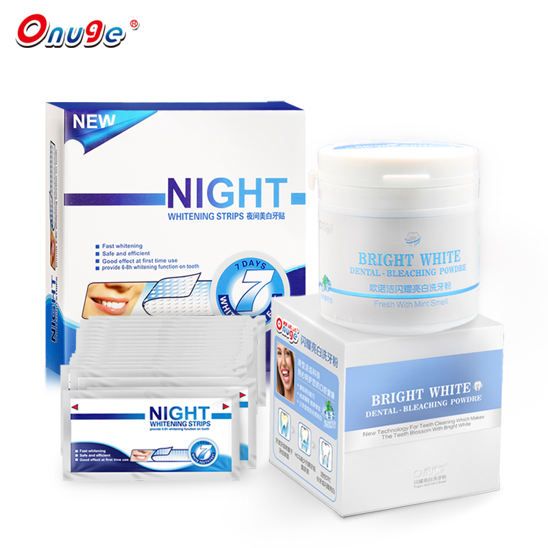 Onuge Oral Hygiene Teeth Whitening Kit 20 Pouches Teeth Whitening Night Dry Strips+Daily Use Mint Dental Powder Oral Hygiene grinigh teeth whitening thermoforming mouth tray oral hygiene dental mouth guards 200pcs eva medical standard material