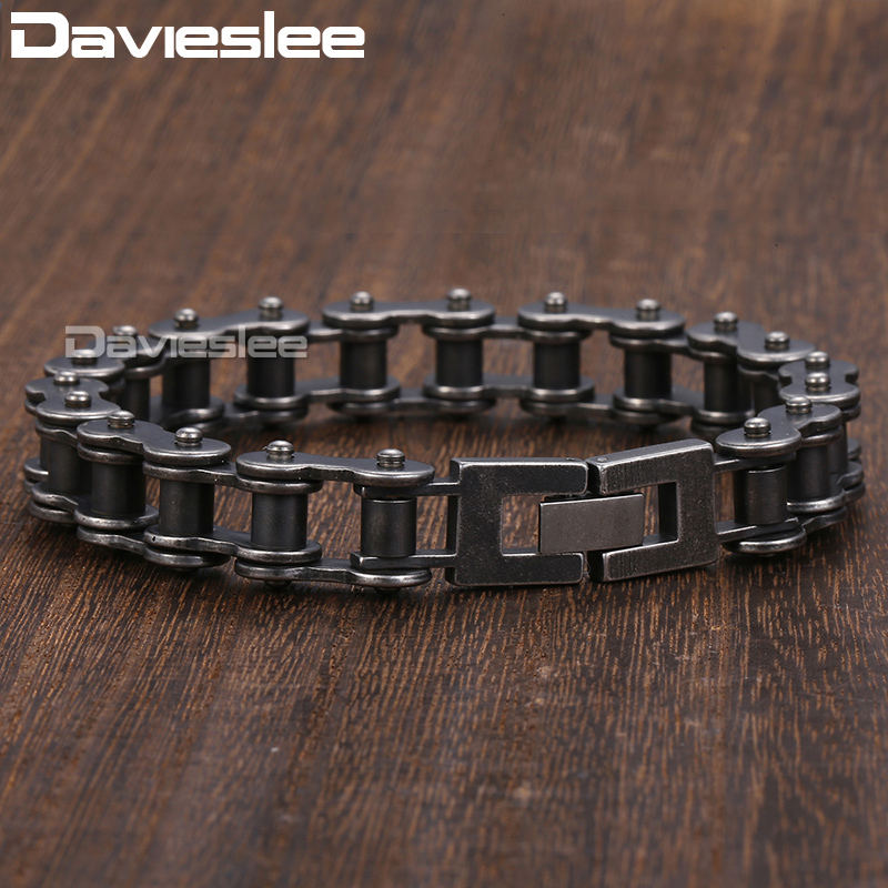 Davieslee Male Bracelet for Men Bycycle Biker Link Gunmetal 316L Stainless Steel Men's Bracelet Gift Party Jewelry DLHB423 opk biker stainless steel men bracelet