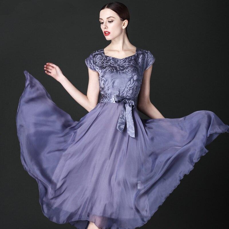 New Women Summer Dress 2019 High Quality Silk Chiffon