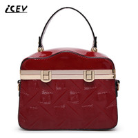 ICEV New Fashion Simple Doctor Patent Leather Luxury Handbags Women Bags Designer Handbags High Quality Women