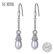DOTEFFIL Drop Earrings Long Section Natural Freshwater Pearl 925 Sterling Silver Earrings Pearl Jewelry Women Wedding/Party Gift