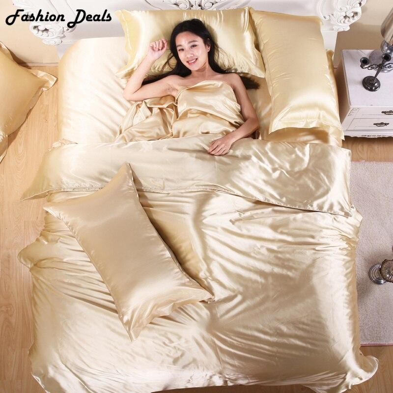 3/4 pièces couleur Pure soie Satin ensemble de literie moderne luxe housse de couette ensemble literie linge de lit draps taies d'oreiller livraison gratuite