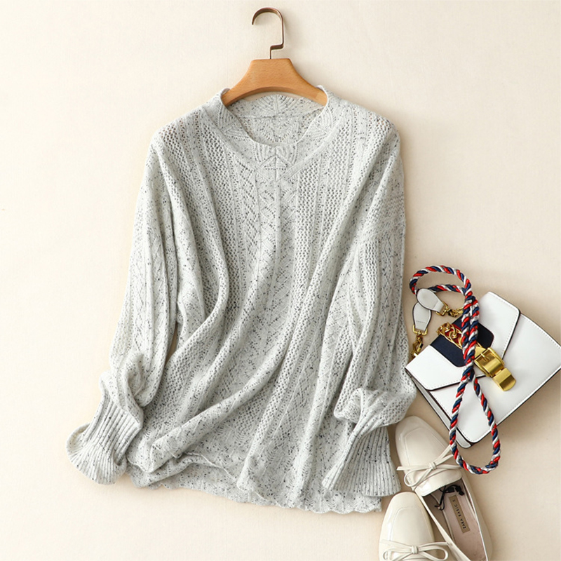 Shuchan Autumn New Women Sweater Casual Hollow Out Knitted Sweater Tops Long Sleeve O neck Pullover 100 Cashmere Sweater Women in Pullovers from Women 39 s Clothing