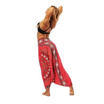 Ladies Boho Harem Pants Red 9