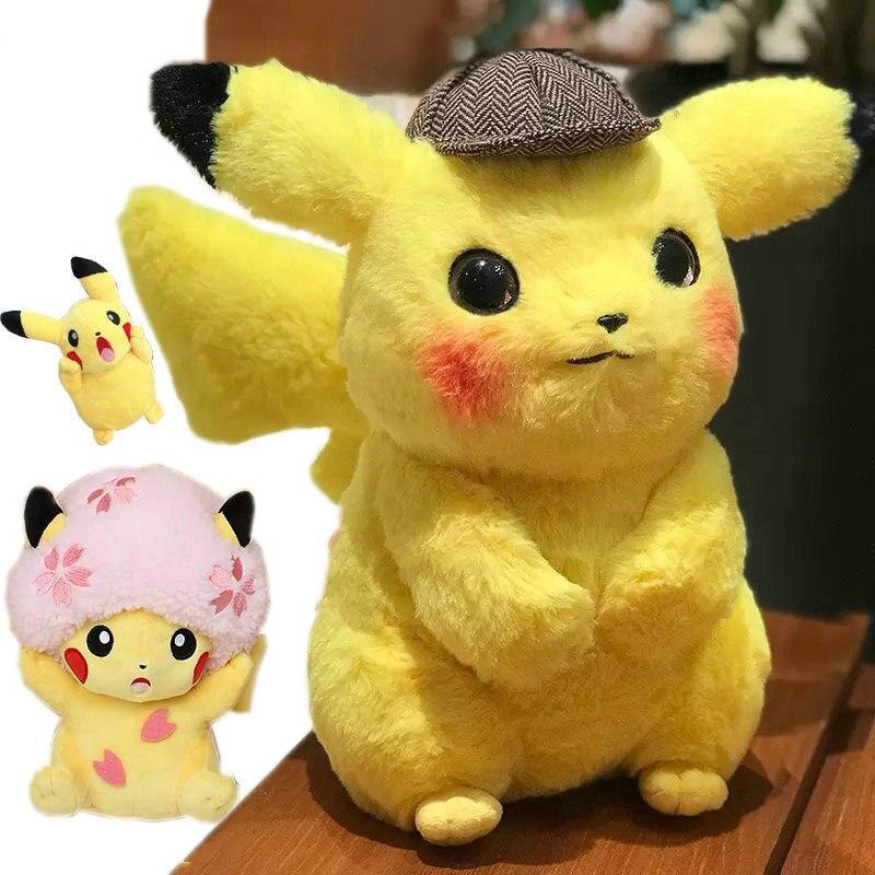 High quality Pikachu Detective Stuffed Toys Japan Anime Game Dolls toys for Boy Cherry blossom head Lady Pikachu Shout Pikachu