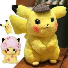 Высокое качество; Пикачу детектива мягкие игрушки японская аниме игра куклы игрушки для мальчика вишня цветок для украшения головы леди Пикачу крик Пикачу