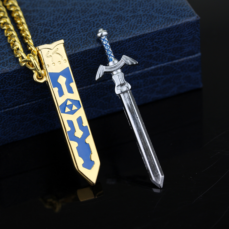 Купить с кэшбэком SG Legend of Zelda Necklaces Master Sword Triforce Hylian Shield Majora Mask Breath Wild Eye Pendants Keyring Men Jewelry Gift