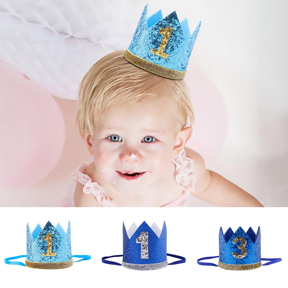 Super Cute Baby Birthday Party Cap Boys Girls Princess Crown Number 1st 3rd Year Old Party Hat Glitter Birthday Headband Shower