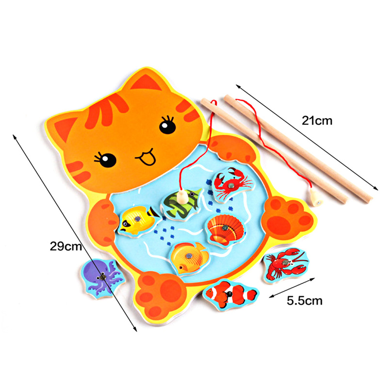 Baby-Kids-Magnetic-Fishing-Toys-with-Rod-Cartoon-Frog-Cat-Fishing-Game-Board-Wooden-Jigsaw-Puzzle-Educational-Toy-Gift-4