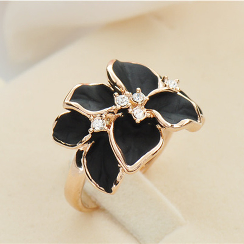 2015 new fine beautiful vintage pink black white gardenia ring women jewelry wholesale jewelry with tricolor