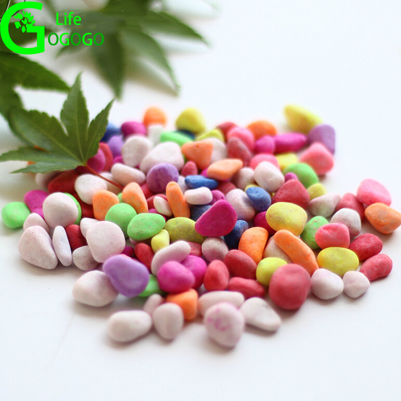 500g Colored small stone Fish Tank Aquarium Stone  landscaping colorful stone potted plants decorative gardening supplies